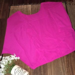 Express hot pink flowy butterfly sleeve lined tank